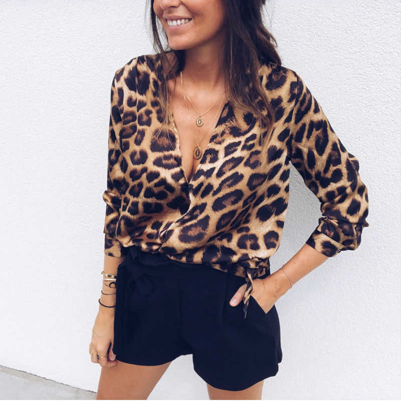 dc5841aa9a02 Sexy Women Blouses Ladies Tops Leopard Print Blouse Shirt Deep V Neck  Blouses For Women Long