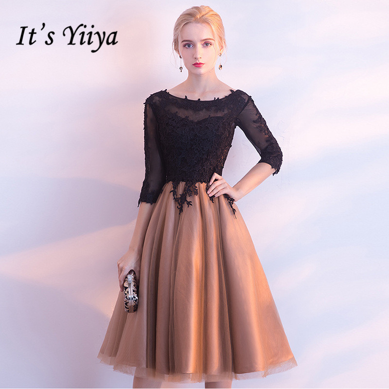 It's YiiYa Luxury Black And Yellow O-Neck Half Sleeve Backless Appliques Lace Up Cocktail Dresses Knee Length Formal Dress LX458