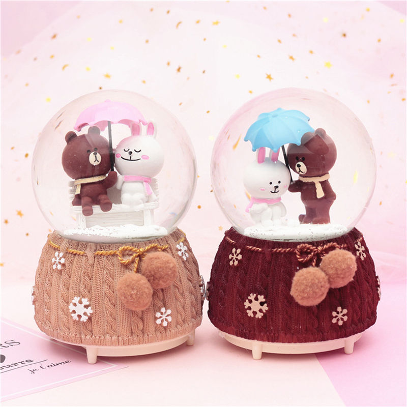 Creative Cartoon Bear Illuminated Crystal Ball Music Box Water Polo Figurine Ornaments Bear Music Box Resin Crafts Student Gifts