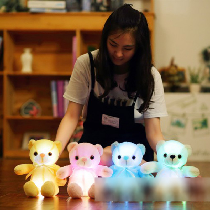Kawaii Nano Bear Brinquedos 32cm LED Luminous Colorful Soft Plush Stuffed Animal Doll Children Toys for girls Birthday gift best girl toys 2017