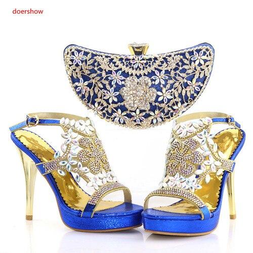 rouge vert 25 bleu Sac 2018 Chaussures Les Italiennes or Et Femmes Noir Soirée Avec Pab1 Pour Strass Style Doershow Assortis Ensemble Pompes Sacs 1Bq4Hng