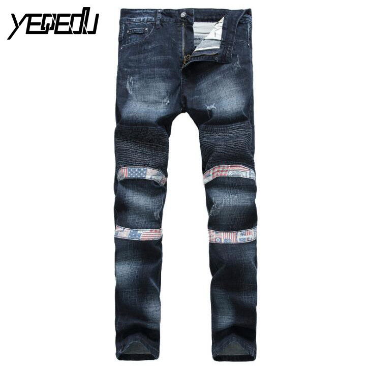#3412 Slim Biker jeans men Fashion Mens skinny jeans Pleated Stretch jeans men Denim biker Moto jeans Straight Famous brand men 2017 fashion patch jeans men slim straight denim jeans ripped trousers new famous brand biker jeans logo mens zipper jeans 604