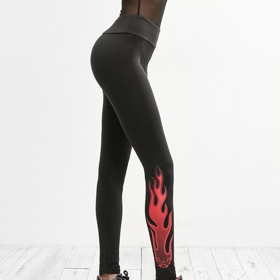 Push Up Casual Women Fashion New Style Workout Leggings Fire Pattern Digital Printed Black Sporting Elastic Force Leggings