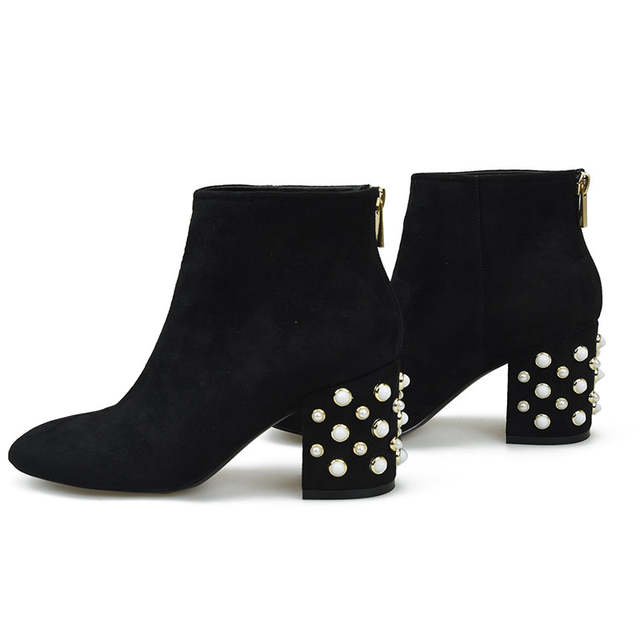 0096054cf7ab Dark Green Suede Square Toe Women Boots Pearls High Heel Zipper Boots  Autumn Winter Short Plush