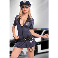 S XXL Plus Size Sexy New Stretchy Front Zipper Badge Handcuffs Adult Police Cop Uniform Fancy Dress Costume With Hat L1112
