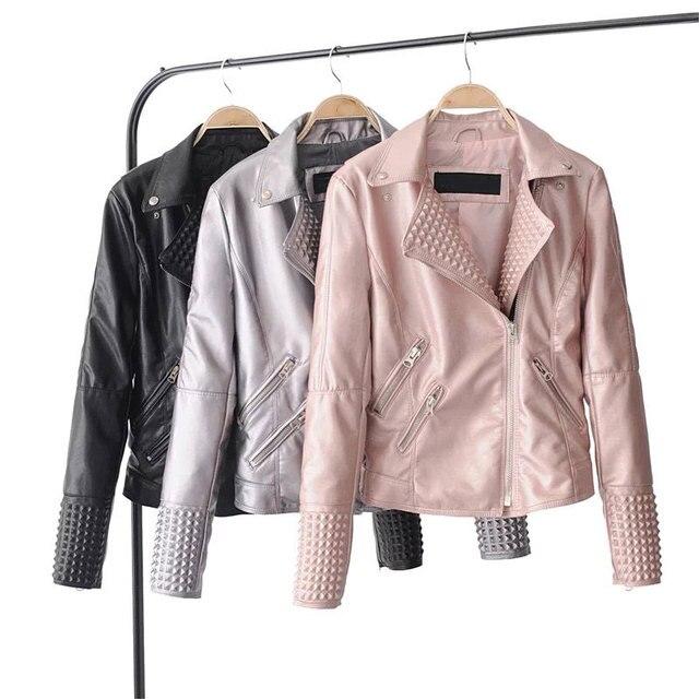 7e9334504 US $29.62 39% OFF|Bright Pink Leather Jacket Women Stud/rivet Moto Coats  chaqueta Blazer Faux PU Jack jaqueta couro Rock cuir femme casaco 2018-in  ...