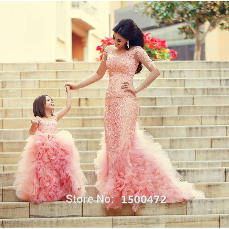 cute tulle puffy pink flower girls dress for communion 2016 fashion lace appliques mother daughter for - Aliexpress Mariage