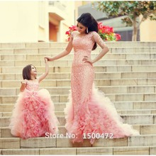 Cute Tulle Puffy Pink Flower Girls Dress for Communion 2016 Fashion Lace Appliques Mother Daughter for Party Robe fille mariage