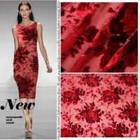 Vintage rose red velvet tessuto high-end di gelso sciarpa di velluto di seta cheongsam gonna tessuti commercio all'ingrosso di alta qualità panno di seta