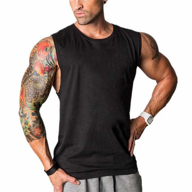 Fitness clothing Sleeveless shirt men bodybuilding   tank   O neck undershirt solid   tank     tops   blank gyms tanktop men muscle vest