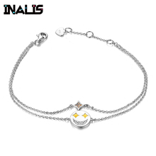 цена на INALIS Bangle&Bracelet 925 Sterling Silver Double Link Chain with Smile Face Star Accessories Charming Bracelet for Women Party