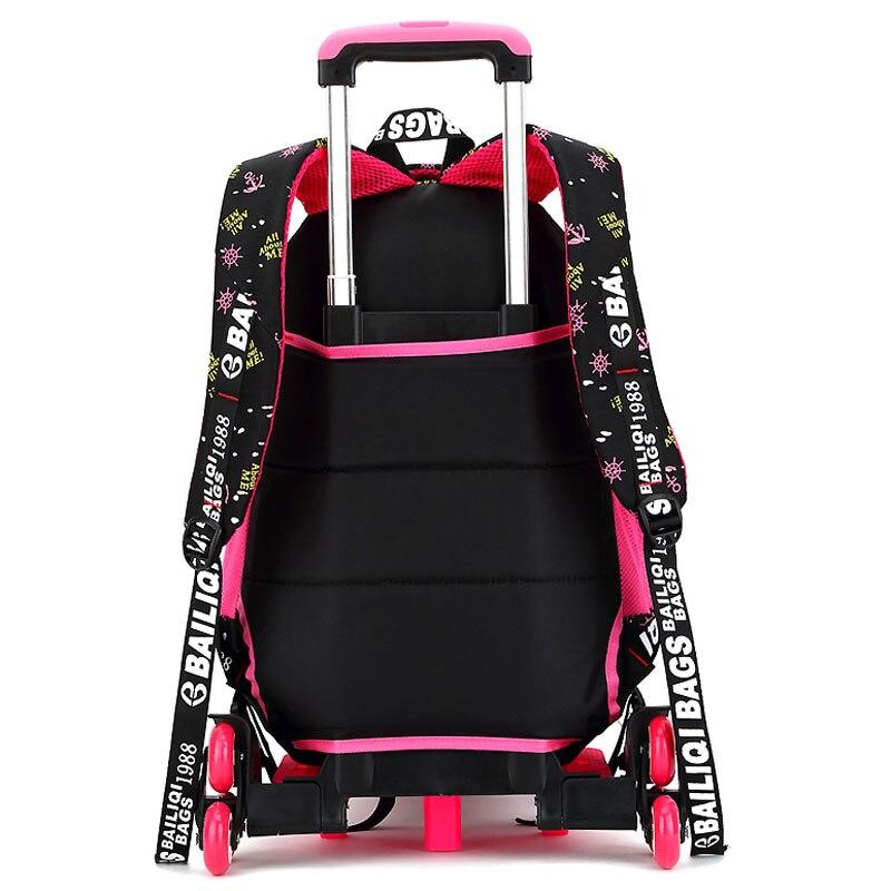 2/6 roues haute qualité filles chariot sac à dos cartable sacs orthopédiques pour enfants chariot cartable garçons sac à dos - 4