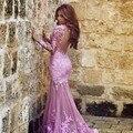 Sexy lavanda roxo longo sereia vestidos manga comprida Backless Formal Vestido de baile Vestido de Festa