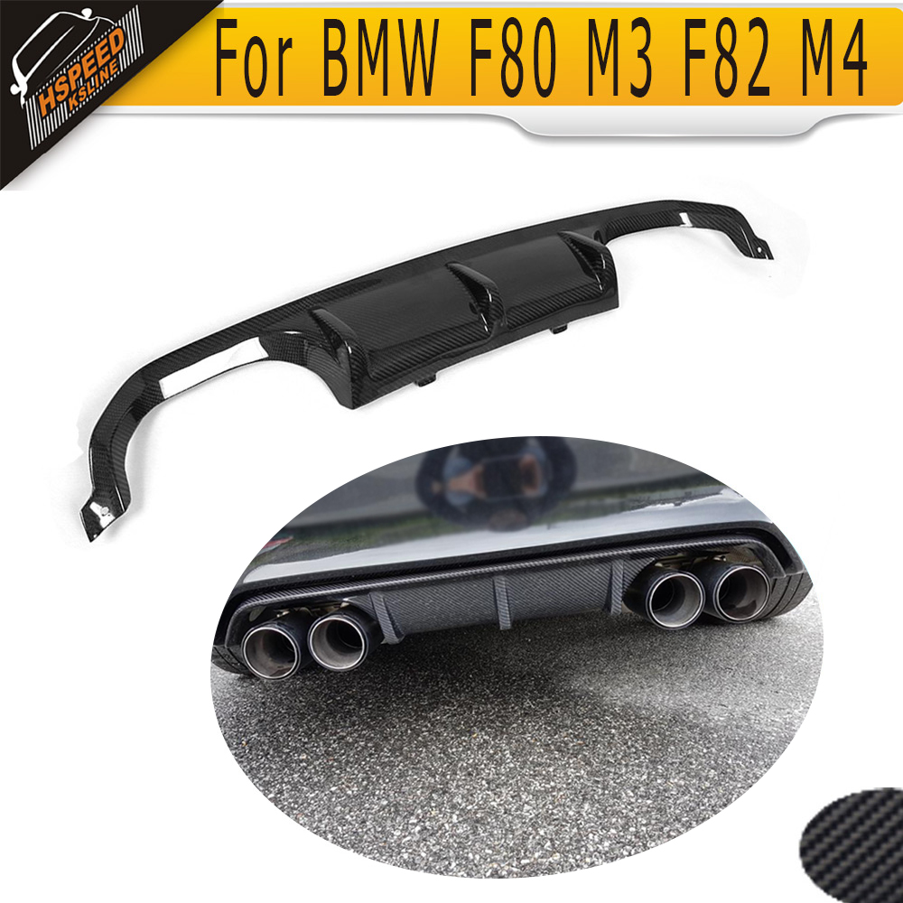цена на 4 Series carbon fiber car rear Bumper lip spoiler diffuser for BMW F80 M3 F82 F83 M4 14-17 Standard And Convertible Black FRP
