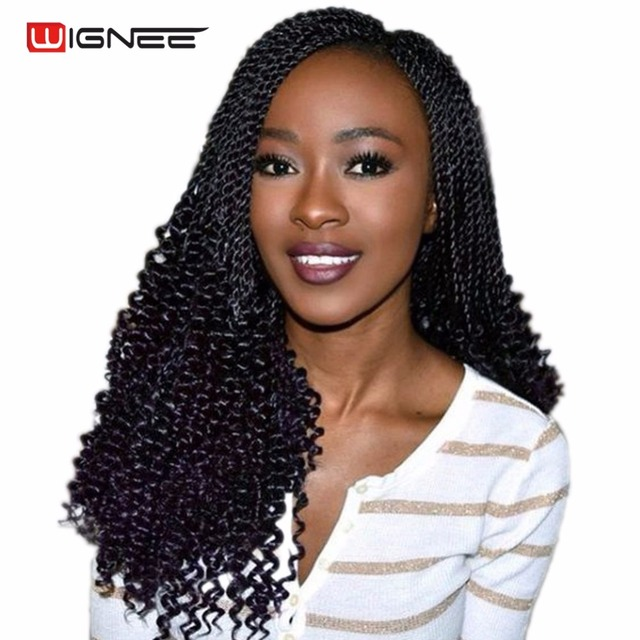 Wignee 20 Inches Curly Senegalese Twist Crochet Braiding Synthetic