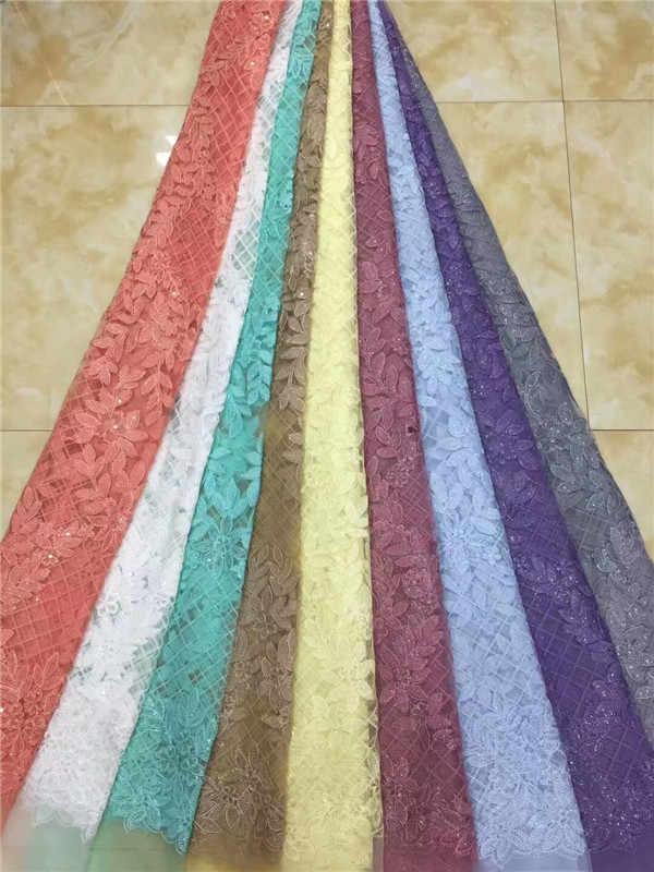 Африканский кружево ткань 2019 sequine высокое качество швейцарская вуаль кружевная ткань с вышивкой с 3d цветок, французское кружево персик фиолетовый