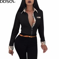 DDSOL Office Lady Blouse Shirts Spring Long Sleeve Button Turn Down Collar Shirt Women Sexy Casual