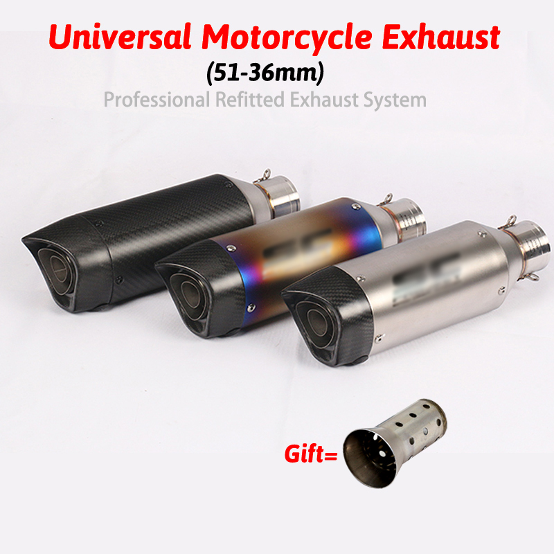 Carbon 51mm Motorcycle Modified gy6 Exhaust Scooter Muffler Exhaust For CBR CBR125 CBR250 CB400 CB600 YZF FZ400 Z750Carbon 51mm Motorcycle Modified gy6 Exhaust Scooter Muffler Exhaust For CBR CBR125 CBR250 CB400 CB600 YZF FZ400 Z750