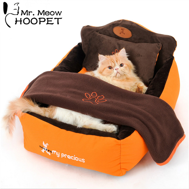 Hoopet Luxury Pet Bed With Pillow Blanket Dog Bed Cat Mat Sofa Warm Dog House Nest Sleep Cushion Orange Kennel