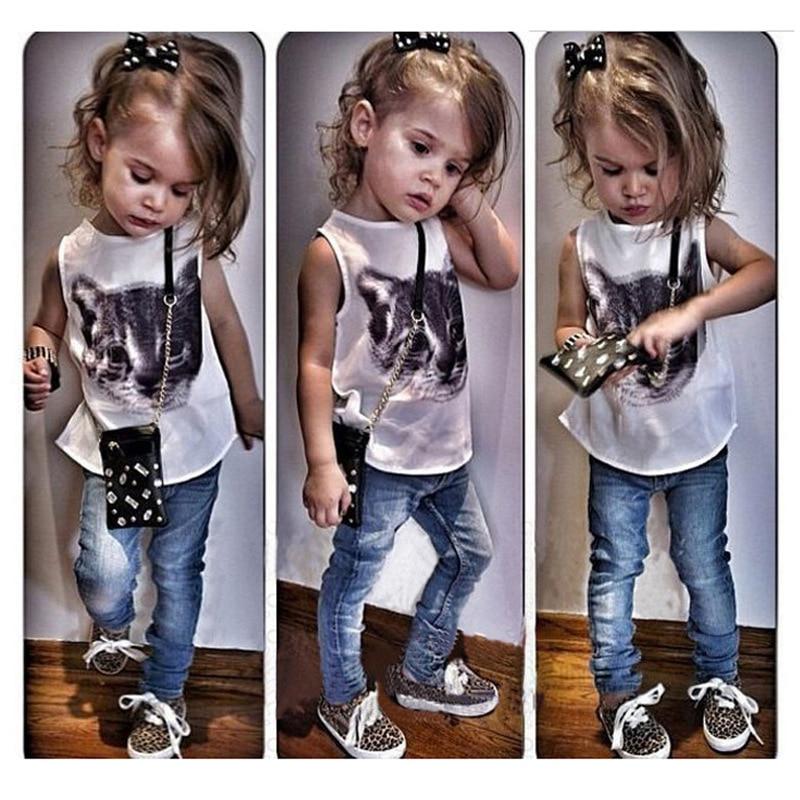 Fashion Cat t shirt Denim Jeans pants baby kids suits 2 pcs fashion girls clothing sets casual children clothes tops suit