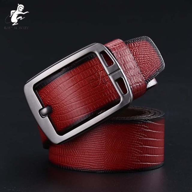 2016 100% Cinturones de Cuero Genuino Para Hombre de Aleación de Alta Calidad Pin Hebilla de Cinturón De Cuero Para Hombre de Lujo Rojo Cinto masculino Q44