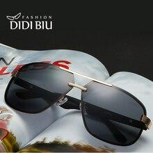 DIDI 2017 Polarized Aviator Sunglasses Men Rimless Frame For Myopia Original Eyewear Flat Top Logo Design Brand Edge Oculos H629