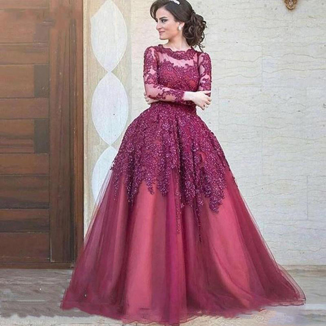 Modest Lace Tulle Formal Dress