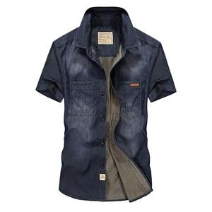 Image 3 - Casual Shirts Solid  High Quality Summer Denim Shirt Men Short Sleeve Casual Shirts Loose Plus Size XXXL 4XL 2018 New
