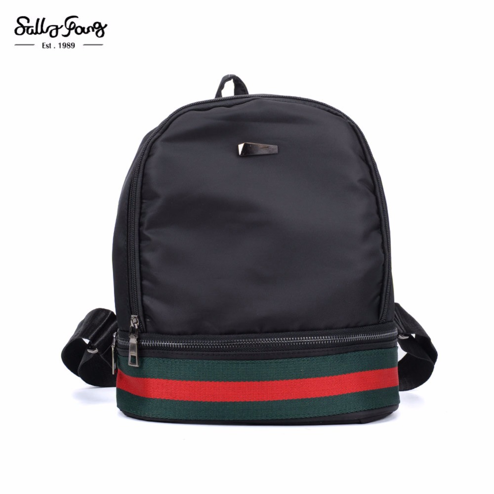 2017 Sally Young Fashion Women Bags Solid Nylon Striped bag Fashion Backpack Leisure Women Backpacks VK5280