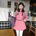 2015 Nova Moda Plus Size Casuais T-shirt de Manga Comprida T-shirt de Algodão O-pescoço Cor Sólida Rosa Sorriso Padrão Camisa das Mulheres 967