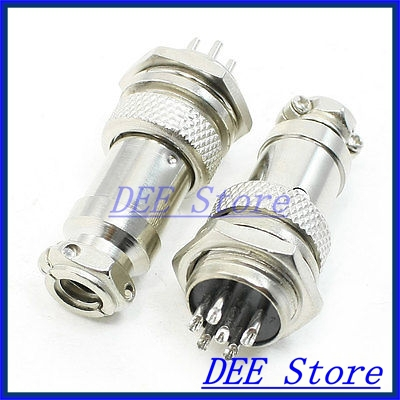 Panel Mounting 16mm Diameter Screw 6Pin Metal Aviation Connector Plug x 2