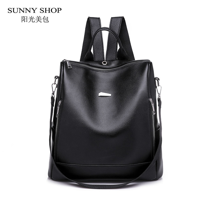 aea450fb26 SUNNY SHOP Anti theft Backpack Female Nylon Fabric Bag Casual PU Leather  Women Backpack For Trip Travel Waterproof Laptop Bag A4