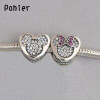 925 Sterling Silver Mickey Minnie True Love Clear CZ Charms European Beads Fit Pandora Charms Bracelets
