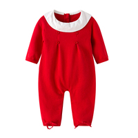 Auro Mesa Infantil Baby Girls Red Knit Romper Christmas Baby Winter Clothes Roupa Infantil Menina Newborn