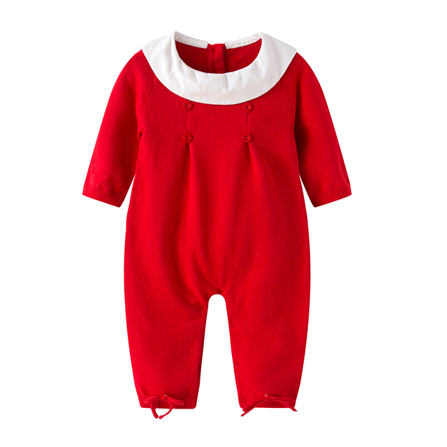 b57d852884c8 Auro Mesa infantil baby girls Red Knit Romper Christmas Baby Winter ...