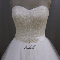 Tuyệt đẹp Chúa Trái Tim Ngọt Ngào Wedding Dress Nặng Đính Cườm Áo Che Thân Sash A Line Bridal Gown Hạt Ngọc Trai Sequined Ren lên Trở Lại