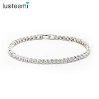 2015 Women Luxury Platinum Plated Genuine Round Clear CZ Tennis Bracelets Bangles For Elegant Party Jewelry