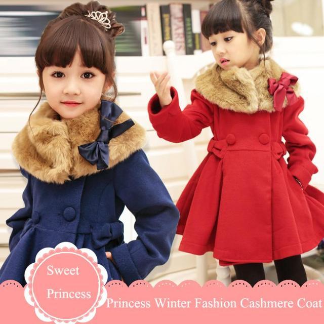 bf39ebc67548 Wool Coat Girls Red Winter Coats Fur Collar Cashmere Wool Dress Coat ...