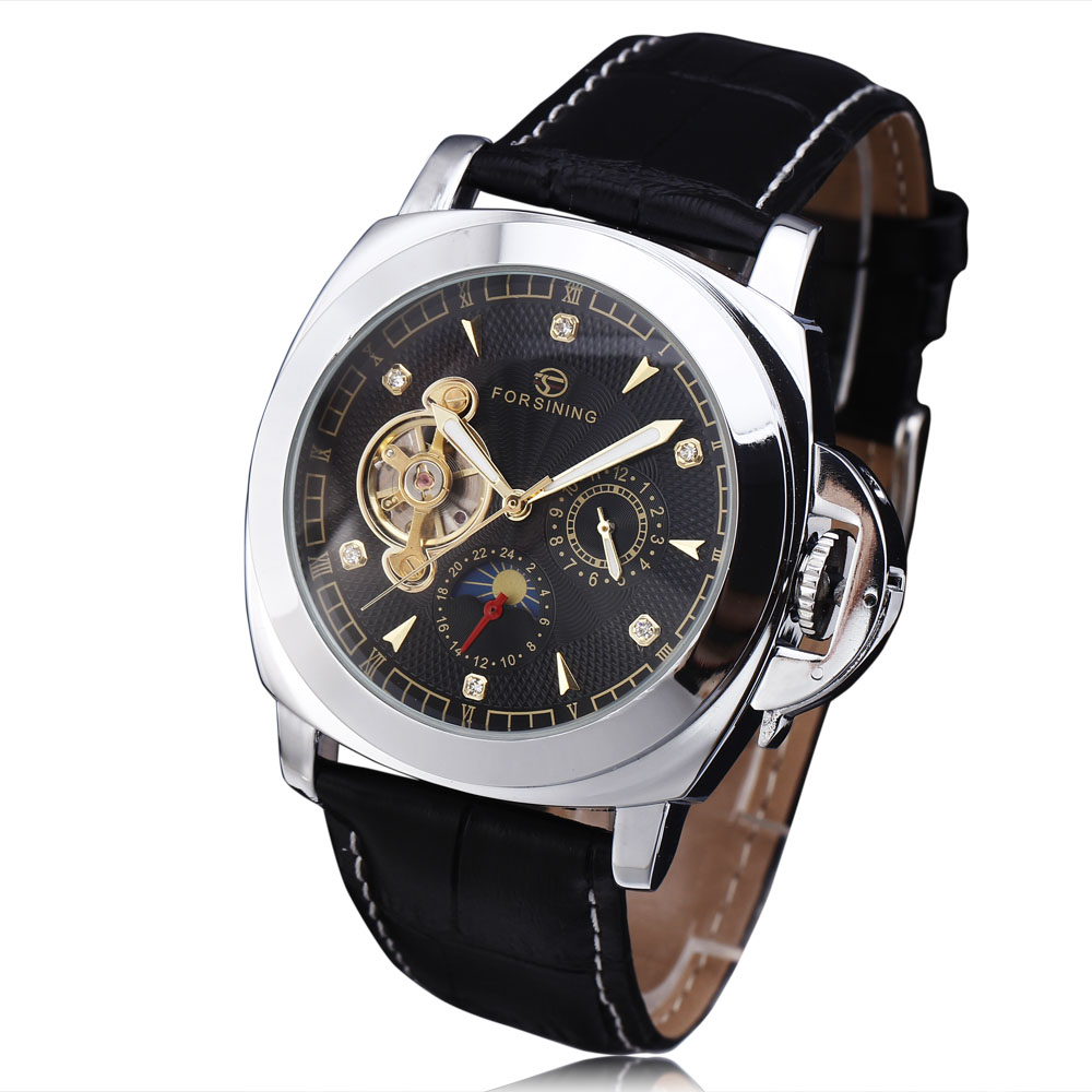 где купить WINNER Men Posh Mechanical Wrist Watch Leather Strap Tourbillion Sub-dial Roman Number Crystal Skeleton  Dial montre homme+BOX по лучшей цене