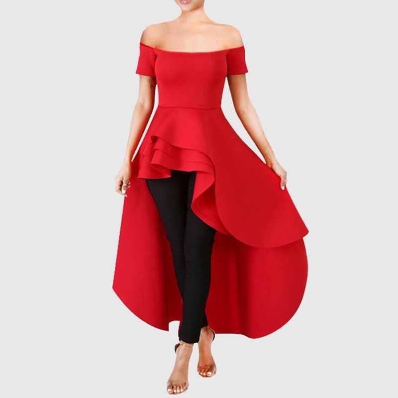 Thảm chùi chân lông xù Dài Áo Áo Hở Lưng Nữ Màu Đỏ Đảng Trễ Vai Thời Trang Đầm Xòe Mùa Hè Màu Trắng Thanh Lịch Áo Kiểu Nữ 2019