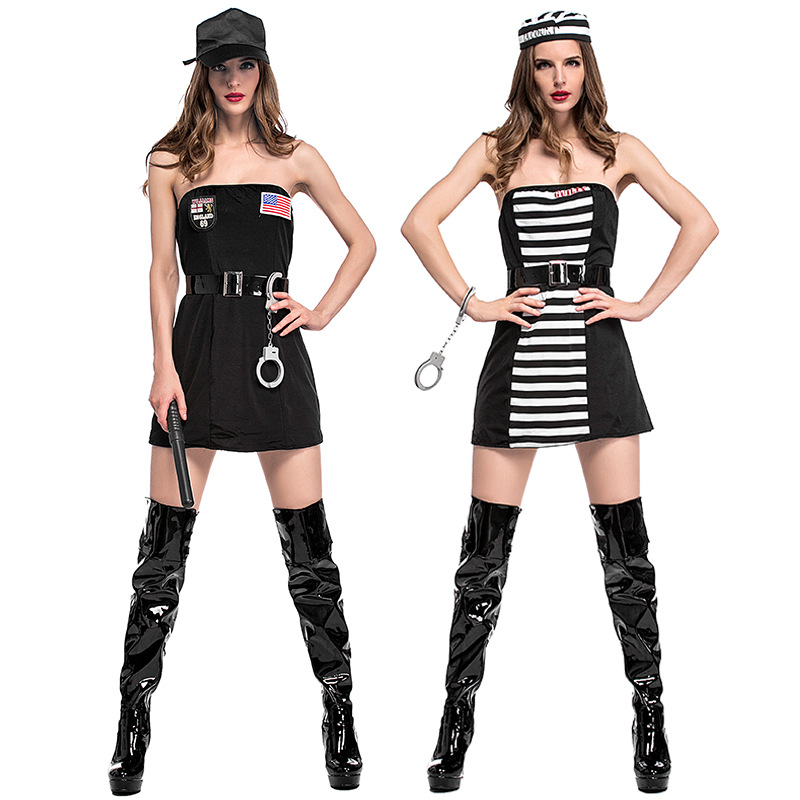 Police  Prisoner Reversible two wear Halloween party Sexy Women costumes Dress