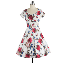 Women Dress Summer Sleeveless Cut Out V Neck Vintage Floral Print 1950s 60s Big Swing Party Casual Retro Dresses