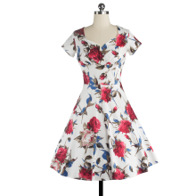 Women Dress Summer Sleeveless Cut Out V Neck Vintage Floral Print 1950s 60s Big Swing Party