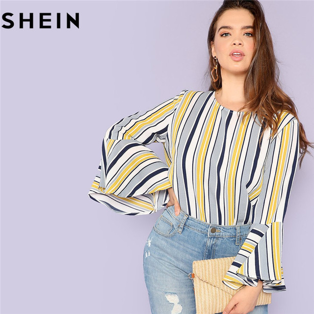 f48c8ed5b0 SHEIN Elegant Multicolor Striped Ruffle Sleeve Plus Size Long Women Blouses  2018 Autumn Office Lady O Neck Fashion Tops Blouse