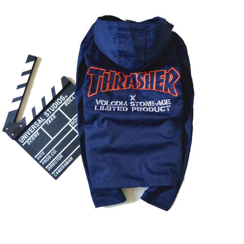 thrasher jacket women man hip hop bomber thrasher letter embroidery flame blaze magazine thin windbreaker thrasher
