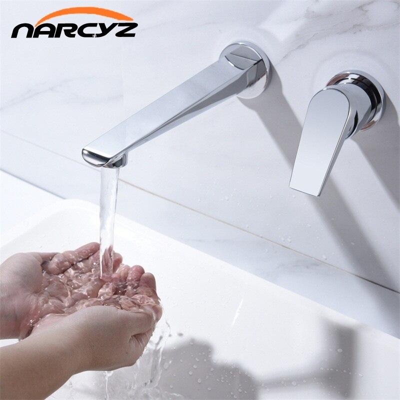 Basin Faucets Wall Mounted Brass Bathroom Sink Basin Mixer Tap Faucet Chrome Faucet Sigle Handle Bathroom