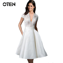 IHOT 2017 summer Women Sexy Deep V high waist white Lace Patchwork Rockabilly Pin up Casual evening Party ladies dresses kleider