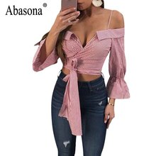 hot deal buy abasona women blouses shirts sexy v neck striped shirt bow bandage women tops party club flare sleeve crop top female blouse