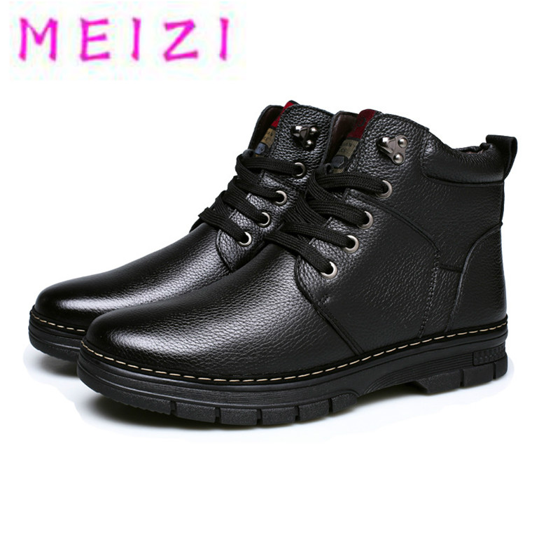 MEIZI Genuine Cow Leather Snow Boots for men winter new plush Lace Up shoes male Black