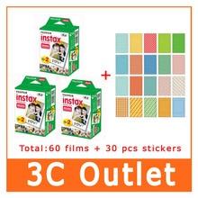 D'origine Fujifilm Instax Film 60 feuille + 30 PCS autocollant pour Fujifilm appareil photo instantané Mini 7 s 8 25 50 s 90 70 sp -, Bord blanc